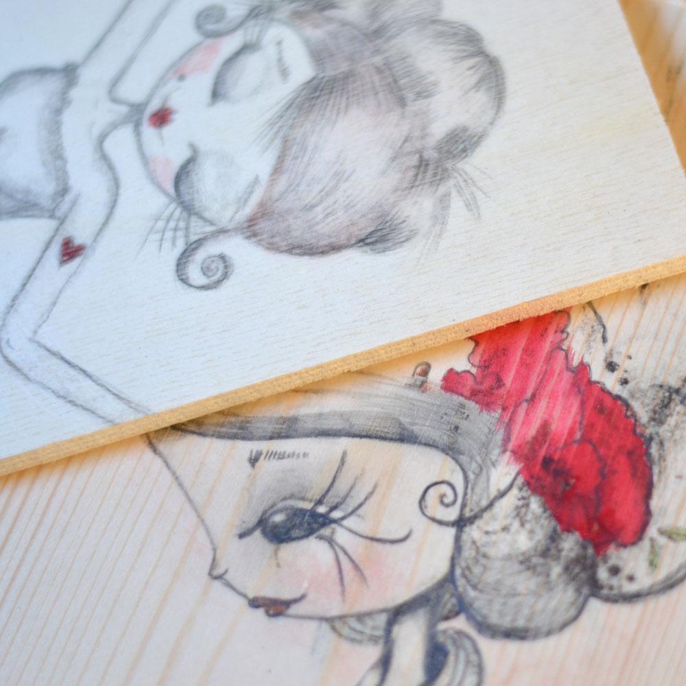 Ilustración sobre madera