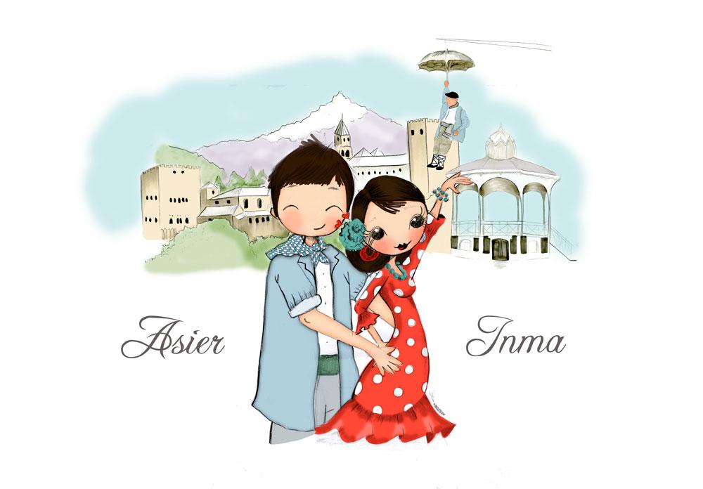 Ilustración personalizada de retrato de pareja