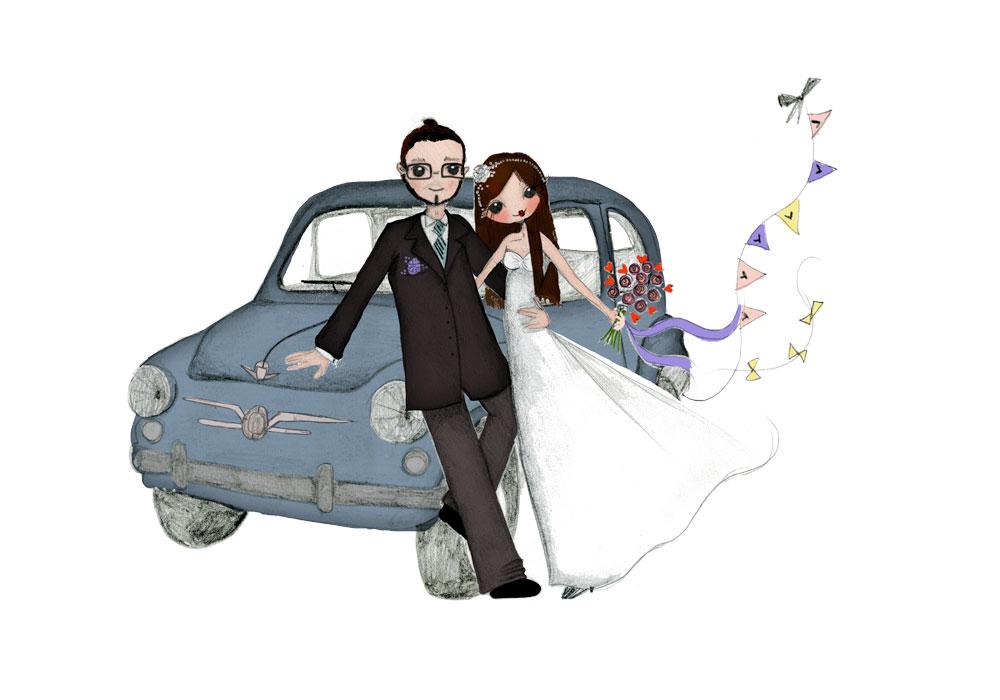 Ilustración personalizada para boda