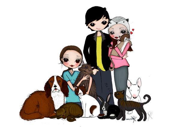 ilustracion personalizada familia