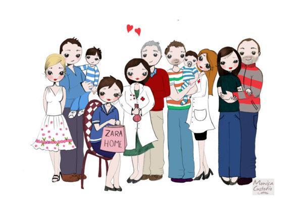 Ilustración personalizada de familia