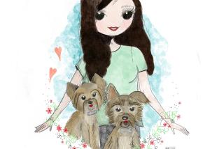Ilustración personalizada con mascotas