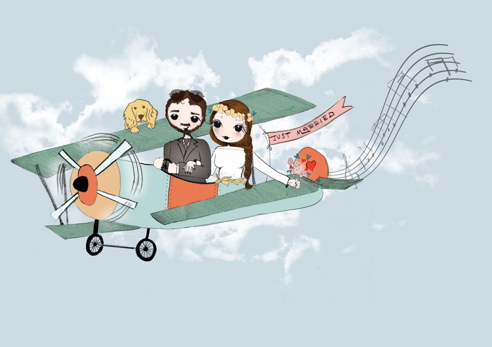 Invitación boda personalizada con avión