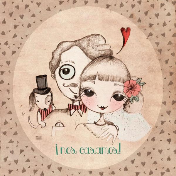 Ilustración de boda personalizada con perrito