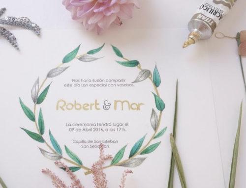 Invitación de boda personalizada en dorados