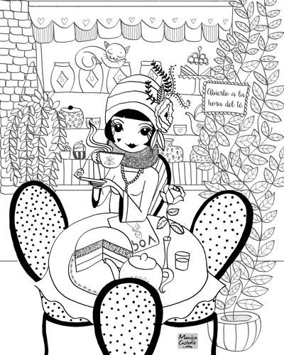 Ilustración coloreable tomando el té por Mónica Custodio