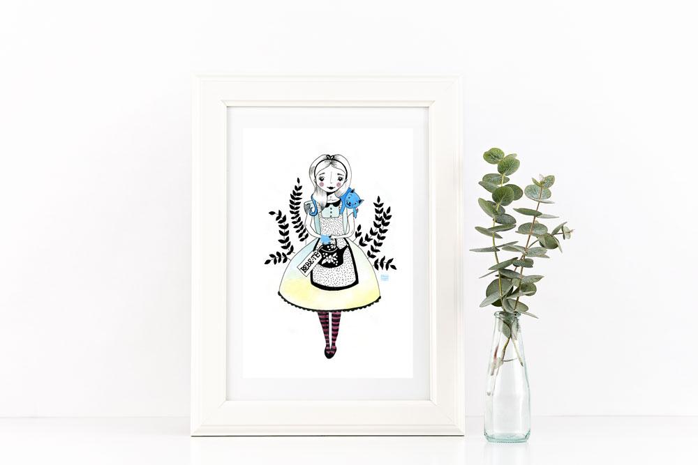 Ilustración Alicia en el País de las Maravillas y té por Mónica Custodio