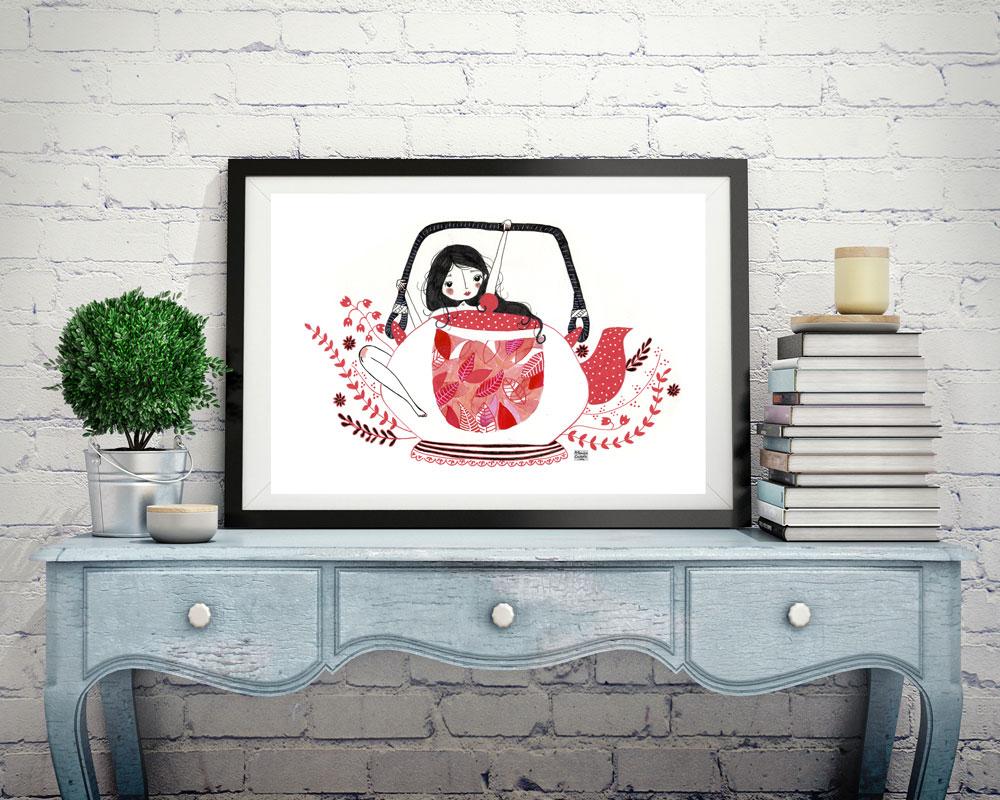 Ilustración de colección té rojo