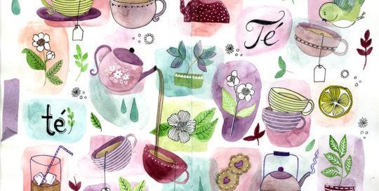 Ilustración estampado té-ntaciones Mónica Custodio