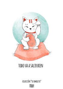 Ilustración de amuleto Gato Maneki-Neko