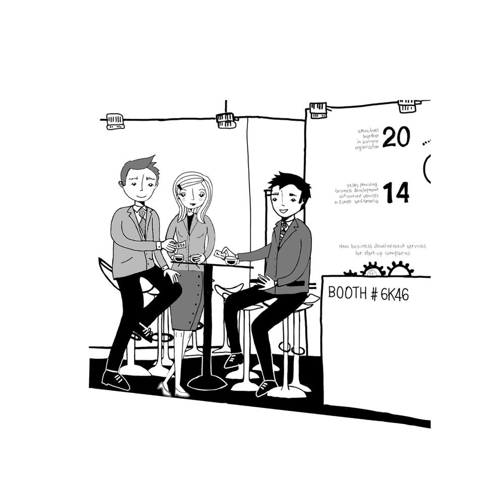 Ilustraciones personalizadas para stand de empresas