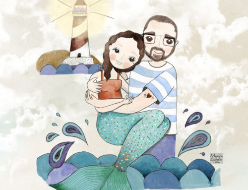 Retrato de pareja marinero y sirena