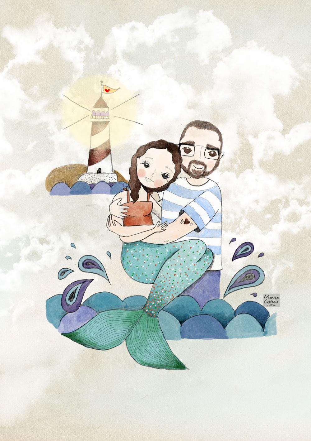 Retrato personalizado marinero y sirena