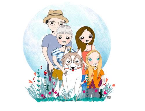 Retrato familiar ilustración para Isabel