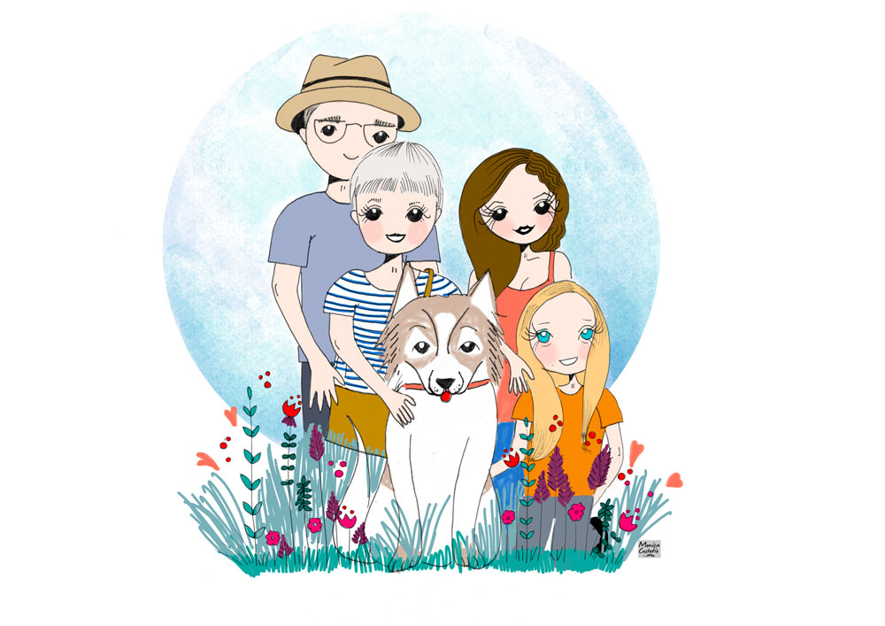Ilustración personalizada de familia Isabel