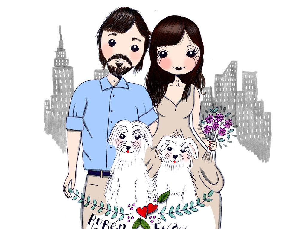 Retrato personalizada Rubén y Eva