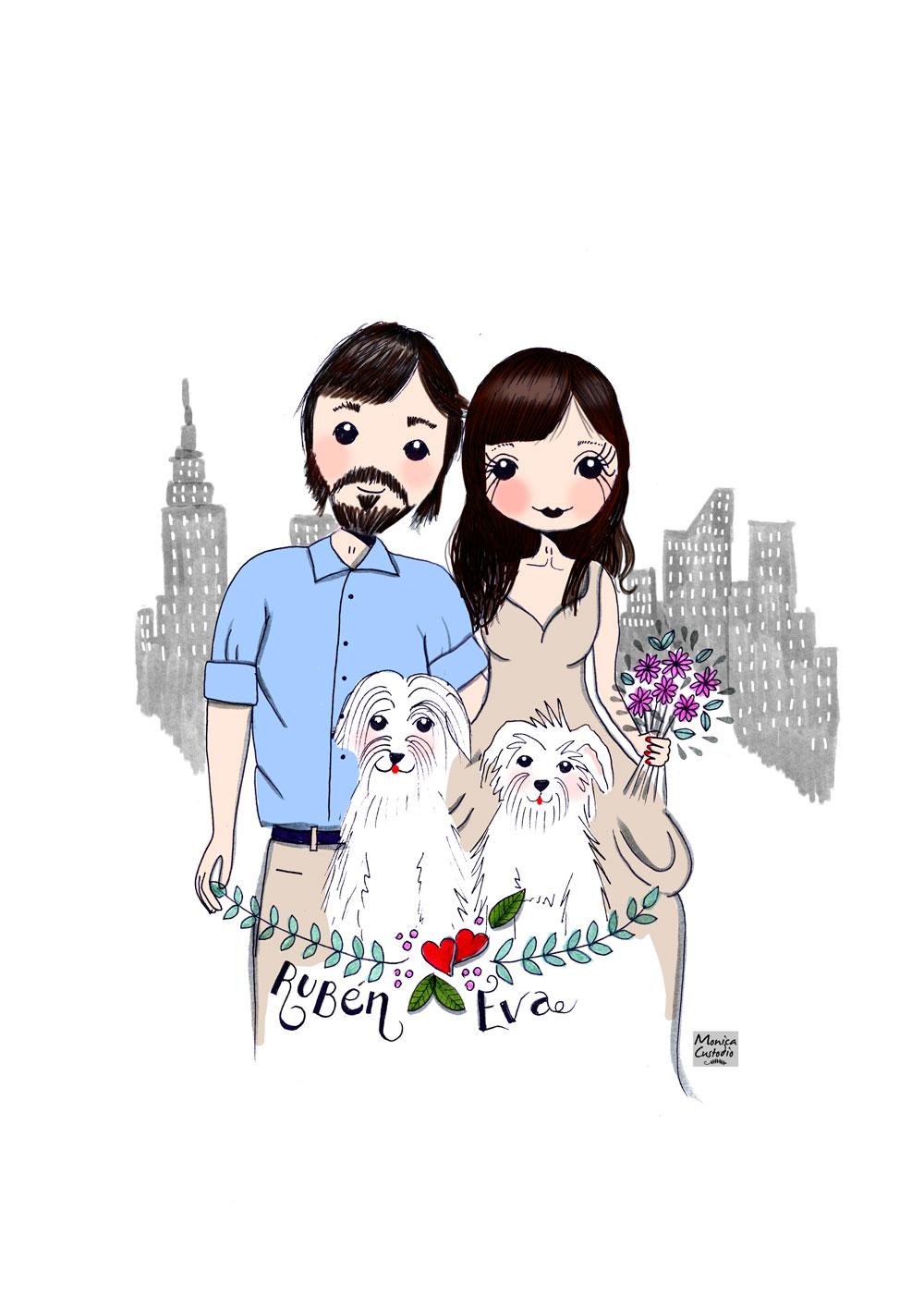 Ilustración personalizada novios Rubén y Eva