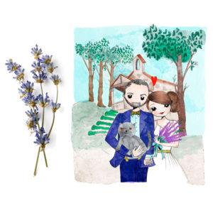 Invitaciones de boda con ilustración personalizada