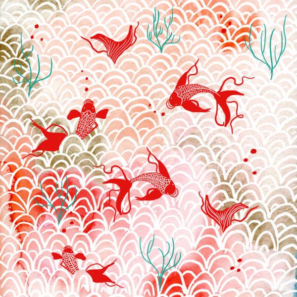 Estamapado oriental para papel de origami